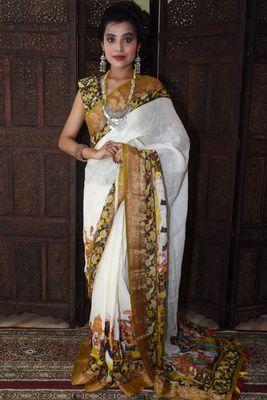 Unitex Fashion White Linen digital kalamkari printed saree