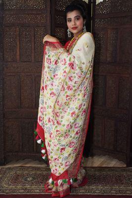 Unitex Fashion  White Linen digital floral printed saree