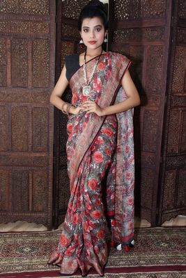 Unitex Fashion Multicolor Linen digital floral printed saree
