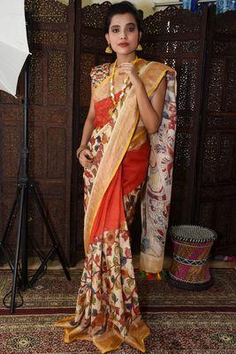Unitex Fashion red Linen digital Kalamkari Printed Saree