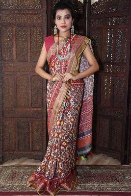 Unitex Fashion Multicolor Linen Digital Patola Printed Saree