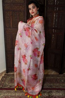 Unitex Fashion Pink Organza floral printed saree