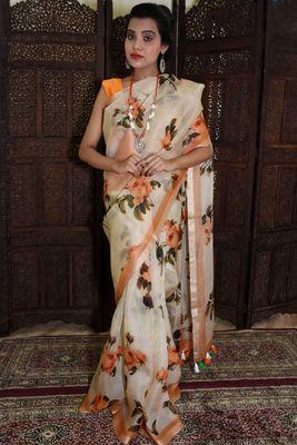 Unitex Fashion White Organza floral printed saree