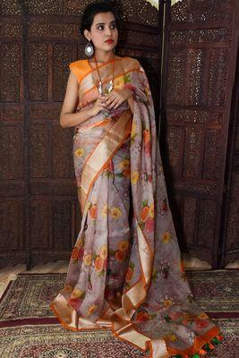 Unitex Fashion Grey Organza floral printed saree