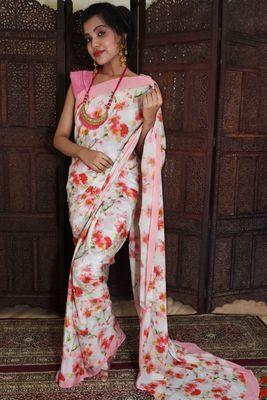 Unitex Fashion Pastel Semi Crepe silk digital floral printed saree
