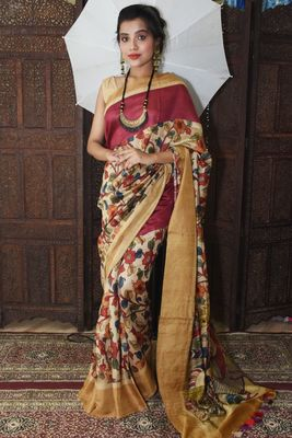 Unitex Fashion Red Moonga silk digital kalamkari printed saree