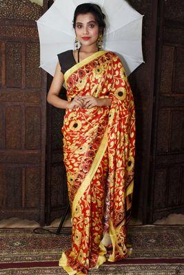 Unitex Fashion Red Mulberry tussar digital kalamkari printed saree