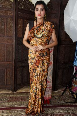 Unitex Fashion Multicolor Mulberry tussar silk digital kalamkari printed