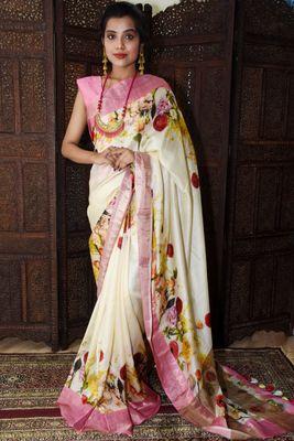 Unitex Fashion White Tussar silk digital floral printed saree