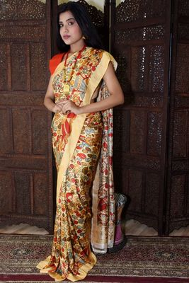 Unitex Fashion multicolor Mulberry tussar Digital kalamkari printed saree
