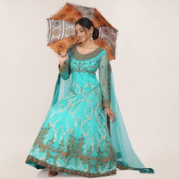 Turquoise embroidered net salwar
