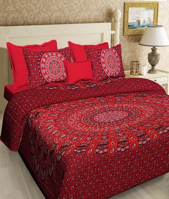 COTTON PRINTED MULTICOLOUR DOUBLE  BED SHEET WITH PILLOW COVER