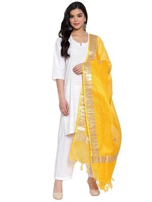 Yellow Cotton Doriya Gota Patti Work Dupatta