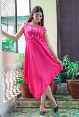 Pink Khadi Printed Rayon Kite Kurti