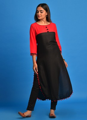 Black and Red Pompom lace Rayon Apple cut kurti