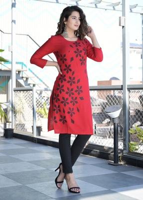 Red Khadi Printed Rayon Straight Kurti