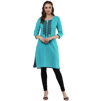 Teal Green Embroidery Cotton Straight Kurti