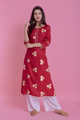 Red Gold Printed Rayon A-line Kurti