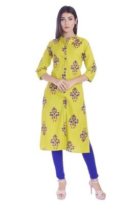 Yellow Printed Cotton Flex Front Slit Kurti
