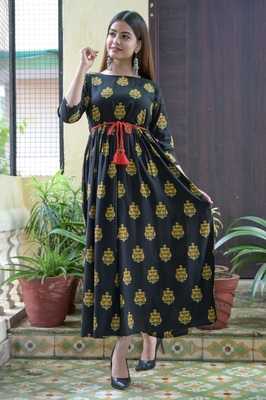 Black Printed Rayon Flared Kurti
