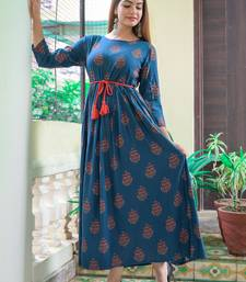 Blue Printed Rayon Flared Kurti