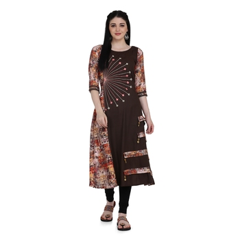 Brown printed rayon ethnic-kurtis