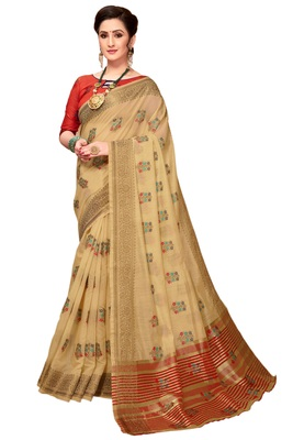Cream woven cotton silk saree with blouse