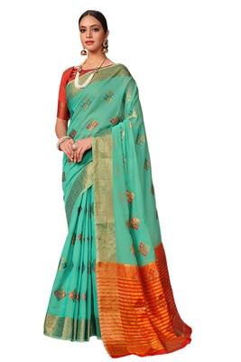 Aqua blue woven cotton silk saree with blouse