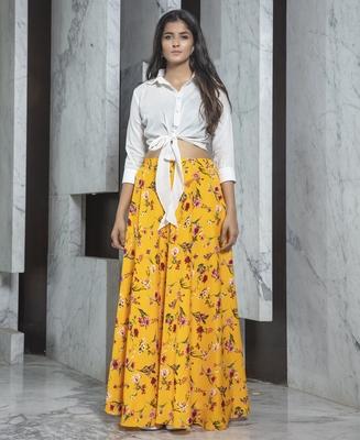 Yellow printed crepe Semi Stitched bridal lehenga