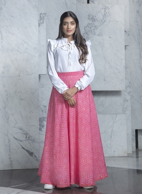 Pink printed rayon Semi Stitched bridal lehenga