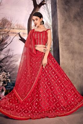 Red thread embroidery net semi stitched lehenga