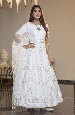 White thread embroidery georgette semi stitched anarkali salwar