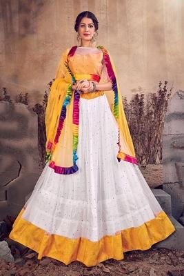 White thread embroidery net semi stitched lehenga