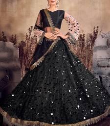 Black thread embroidery net semi stitched lehenga
