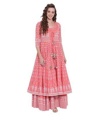 Women Printed Rayon A-line Kurta  (Pink)