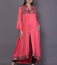 Pink embroidered crepe cotton-kurtis