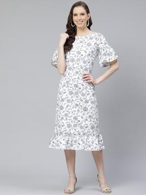 White printed rayon kurtas-and-kurtis