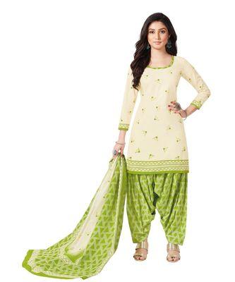 Women's Cream & Green Cotton Printed Readymade Patiyala Suit Set