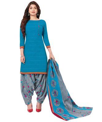 Women's Sky Blue & Grey Cotton Printed Readymade Patiyala Suit Set
