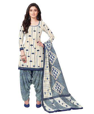 Women's Off White & Blue Cotton Printed Readymade Patiyala Suit Set