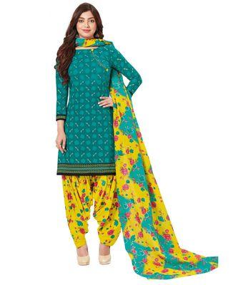 Women's Green & Yellow Cotton Printed Readymade Patiyala Suit Set
