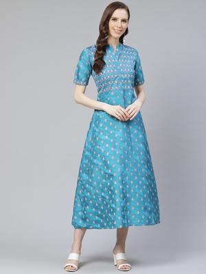 Teal-blue printed art silk kurtas-and-kurtis