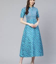 Teal-blue printed art silk kurtas-and-kurtis