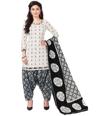 Women's White & Black Cotton Printed Readymade Patiyala Suit Set