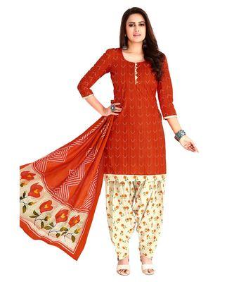 Women's Red & Cream Cotton Printed Readymade Patiyala Suit Set