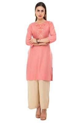 Pink embroidered cotton cotton-kurtis