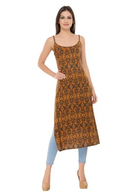 Brown embroidered cotton cotton-kurtis