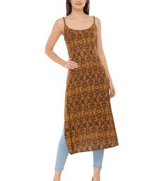 Brown embroidered cotton cotton-kurtis