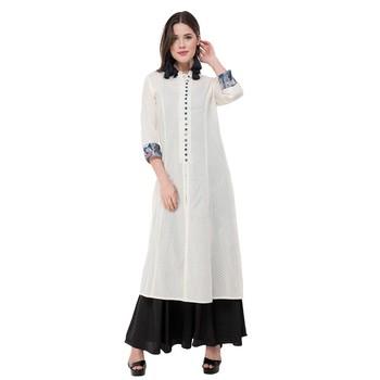 White embroidered cotton cotton-kurtis