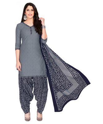 Women's Gey & Navy Blue Cotton Printed Readymade Patiyala Suit Set